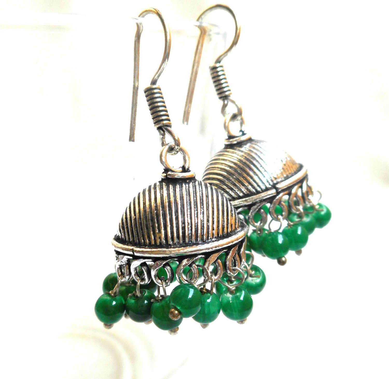 Oxidized Silver Earrings  German Silver  White Metal Earrings  Indian  Jewelry  Chandelier Earrings
