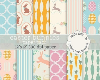 Easter Bunnies Digital Paper- Happy Easter Vintage digital graphics rabbits egg hunt chocolate baskets carrots pastel colors pink orange