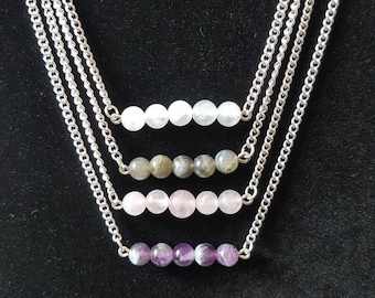 Round beaded bar necklace