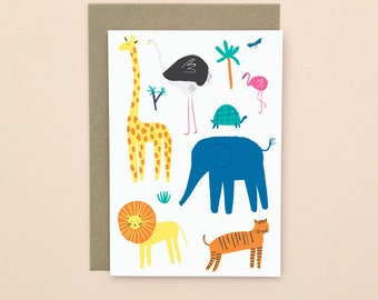 Illustrated Animals Greetings Card A6 Blank