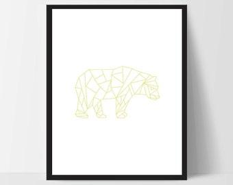 Mustard Yellow Geometric Bear, Printable Wall Art, Wall Print, Boho Art, Wall Prints, Bear Prints, Printable Art, Printable, Walking Bear