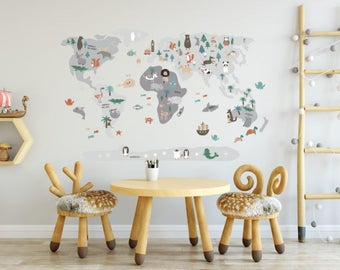 Grey WorldMap Vinyl, kids printables, countries, animals