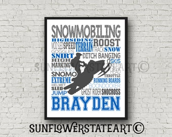 Snowmobiler Snowmobile Snowmobiling Snomo SnoCross Personalized Customized Print Typography
