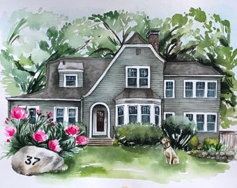 Custom Original Watercolor Home Portrait