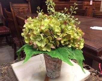 Silk Green Hyrangeas in clay pot
