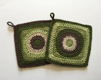 Set off 2 • Handmade Green and Brown Square Crochet Potholders