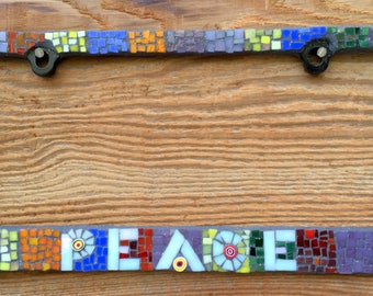 TWO Made To Order -Mosaic Glass License Plate Frames with Lettering