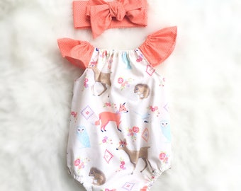 Oh Deer woodland creature romper, playsuit