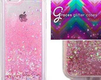 TPU Soft Silicone Pink iridescent Heart Glitter Liquid moving glitter iPhone 7, 7+ 7 plus 6+ 6 plus, 6, 6s, 5, 5S, SE iphone case