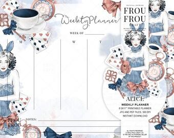 Alice Weekly Planner Pastel Alice In Wonderland Planner Printable Scheduler Fairytale Organizer Instant Download Agenda Fashion To Do List