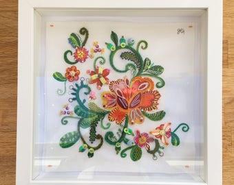 Embroidered folk art, framed textile art, original floral, modern embroidery, embellished textile, bright home decor, watercolour folk art