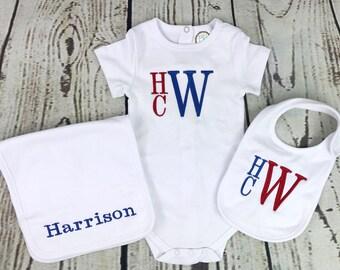 Monogram baby boy gift set, Monogrammed burp cloth set, Monogrammed baby set, Monogrammed onesie