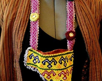 Boho Chic Kuchi Beaded Talisman Amulet Bag Pouch Zills Tribal Fusion ATS Purse