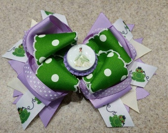 Princess Tiana - Princess & the Frog - inspired stacked hairbow on alligator clip