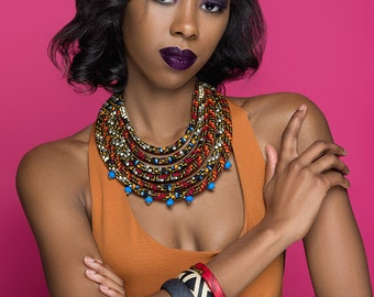 Ketepa Aztec Print Bib Necklace w/ Neon Blue Bead Accent - Black History Month