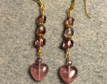 Violet givre Czech glass heart bead dangle earrings adorned with violet Czech glass beads.