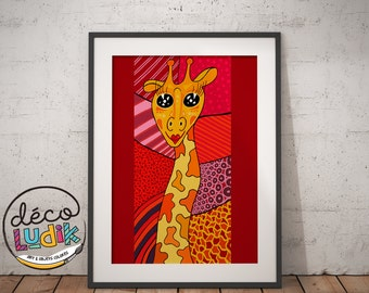 Giraffe print, giraffe illustration, patchwork, art prints, digital print, 8,5X11, wall art