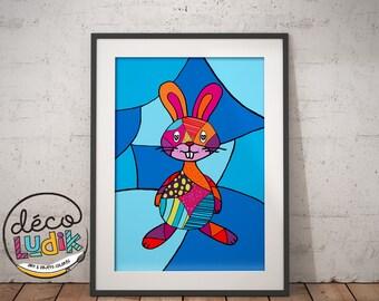 Rabbit print, bunny illustration, art prints, 3d prints, patchwork, 8.5X11