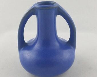 """Vintage Art Pottery Small Vase, Blue Glaze, 3.25"""""""