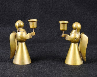 Vintage Brass Angel Candle Holders - Handmade