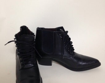 Vintag Dingo Ankle Boot | Black Leather | Lace UP | Pointed Toe | Cuban Heel | Great Condition