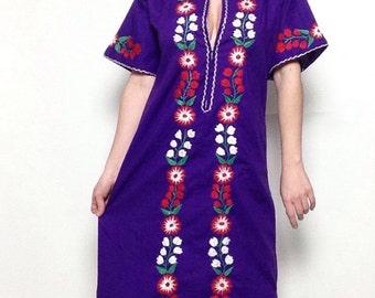 Vintage Purple Embroidered Dress   Kaftan   Mexican   Floral   Festival   Long   Boho   Gypsy
