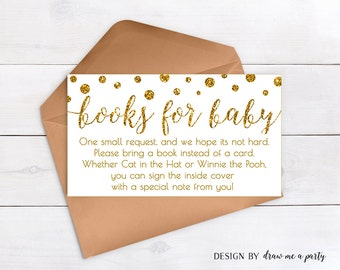 BRING A BOOK Instead Of A Card , Gold Baby Shower , Book Request White And