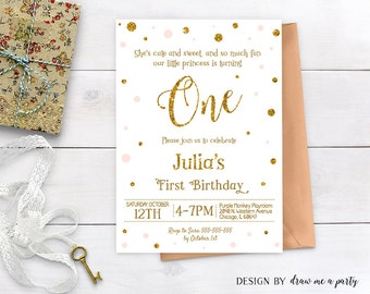 BLUSH PINK and GOLD First Birthday Invitation , Girl First Birthday Invitation , Confetti Pink and Gold Glitter , Printable