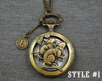 Mouse Pocket Watch -Chinese Zodiac Pocket Watch -Animal Pocket Watch Necklace -Mens Hollow Out Pocket Watch 46mm