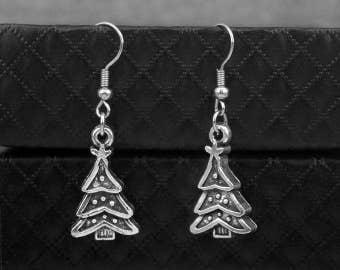 Silver Christmas Tree Earrings -Xmas Gift  -Dangle Earrings -Gift For Her