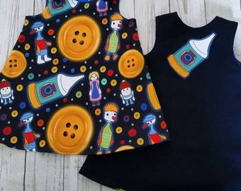 Mr. Spoon with Button moon dress age 18-24 months