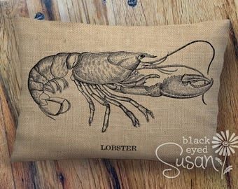 "Vintage Lobster Pillow Cover | 100% Cotton Canvas or Natural Burlap | 12"" x 12"", 16"" x 16"", 20"" x 20"" 