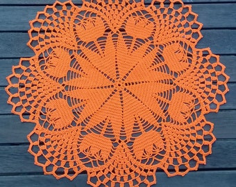 Orange Spring Tulip crochet doily
