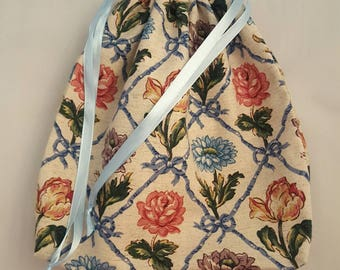 Ribbon and floral print, upholstery fabric, double drawstring bag