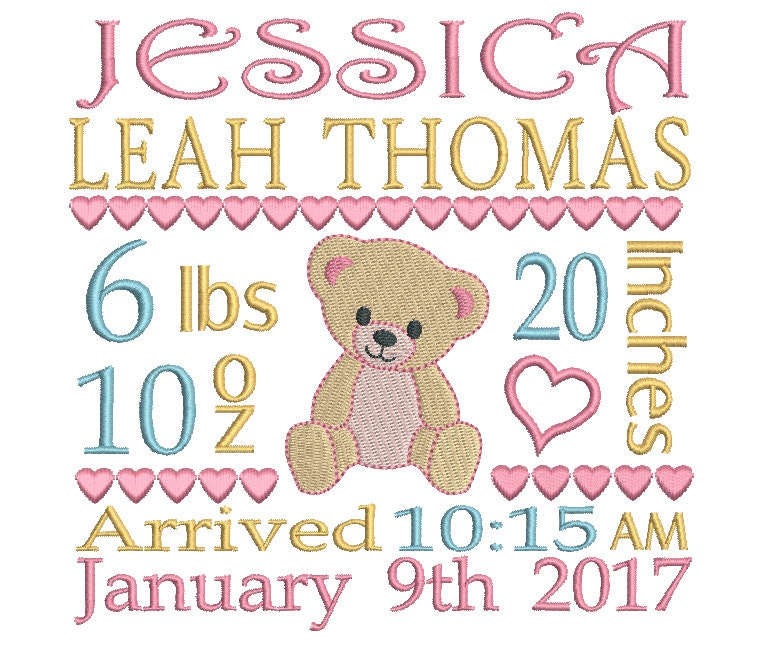 machine embroidery baby birth announcement