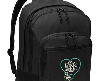 Monogramed Back Pack, Stethoscope Heart Personalized Rn, Lpn, Nurse, Emt Embroidered