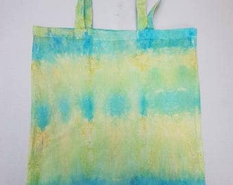 Blue and Green tie dye tote bags.