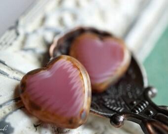 Country Pink, Heart Beads, Czech Beads, Beads, N1618