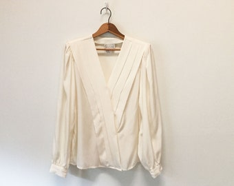 80s Janine Eggshell Y Front Georgette Blouse