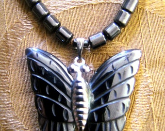 Beaded Hematite Butterfly Necklace