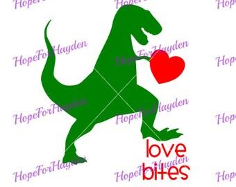Love bites dinosaur SVG; Boy Valentine SVG; DIY shirt decal