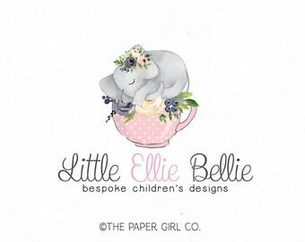 elephant logo design baby boutique logo children's boutique logo premade logo party logo design event planner logo photography logo design