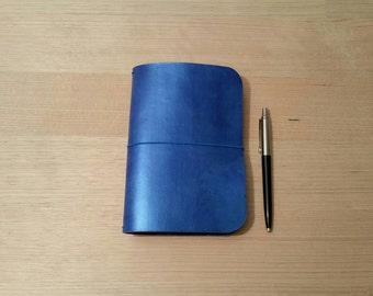 A6 Midori style leather travelers notebook cover in iridescent blue