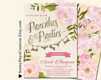 Pancakes and Panties Lingerie Shower Invitation, Bachelorette Invite, DIY Printable