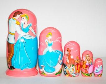 Nesting doll Cinderella for kids signed matryoshka russian dolls