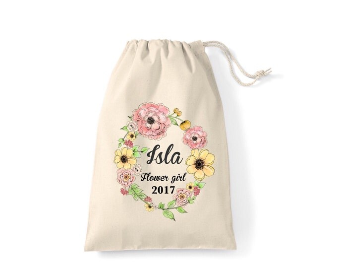 Personalised Wedding gift bags, pouches, thank you keepsake bag, any wording & any colour. Bridesmaid, flower girl, hen party bags. Tote bag