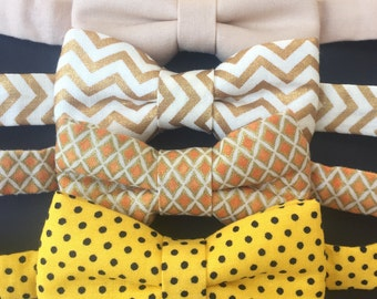SALE Yellow bowties. Brown bowtie. Yellow baby bow tie. Khaki baby bow tie. Baby bow tie. Orange baby bow tie.