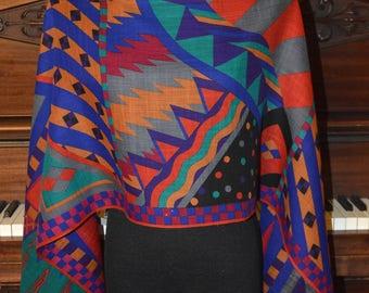 Colorful geometric pattern wool scarf