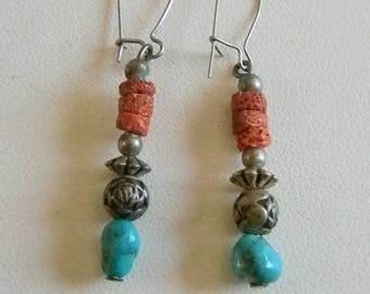 Silver Tone Turquoise Beaded Pierced Earrings