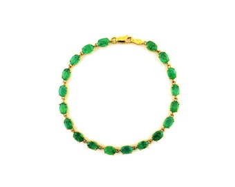 Genuine Emeralds 10K Yellow Gold Tennis Bracelet 6X4MM Stones,7""